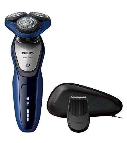 Philips AquaTouch S5600/12 - Afeitadora eléctrica, máquina sin cable, uso en húmedo y seco, 50 min de uso/1 h carga, con funda, color azul