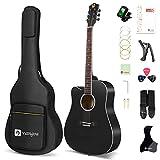 Vangoa Left Handed Acoustic Guitar, 41 Inch Full Size Cutaway Lefty Acustica Guitarra Bundle with User Manual and Gig Bag, Black