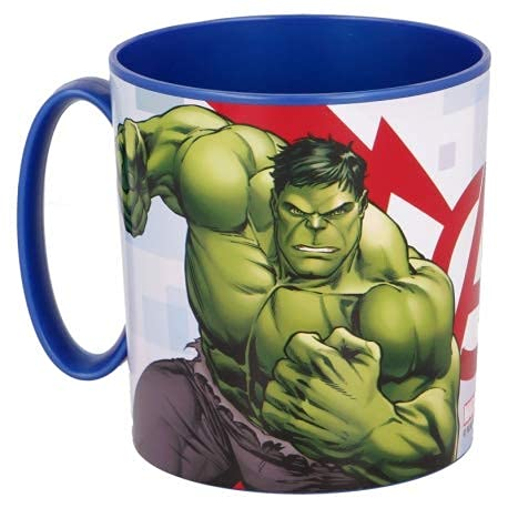 ILS-Avengers Cup Taza de plástico de 350 ml para microondas con asa Desayuno para niños con Hulk y Thor (Avengers)
