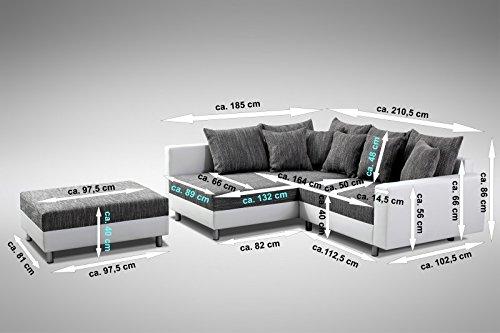 Sofa Couch Ecksofa Eckcouch Stoff hellgrau mit Hocker kaufen  Bild 1*