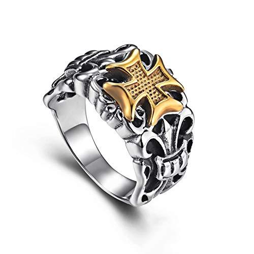 Anillo de cruz religiosa retro cruzado, para hombres, adolescentes y niños, titanio templario vintage, anillo de oro de acero inoxidable, ancho: 0.6 pulgadas, talla 7-12 plateado