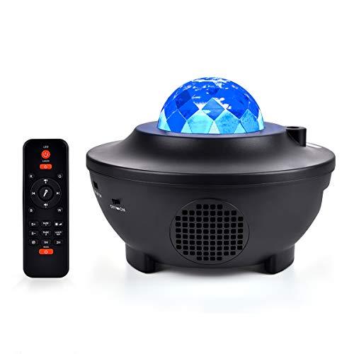 Miavogo LED Projektor Sternenhimmel Lampe mit Fernbedienung + Bluetooth Lautsprecher, Sternenprojektor mit Sternen + Wasserwellen Romantisch Rotierend Nachlicht für Schlafzimmer Kinder Baby