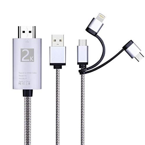 3-in-1 Cavo Adattatore Tipo C-HDMI, Micro USB al Cavo Hdmitransfer, 8 Pin A HDMI AV Cavo di Trasferimento per Lightning, Cavo Adattatore HDMI per Smartphone per La TV, 2M