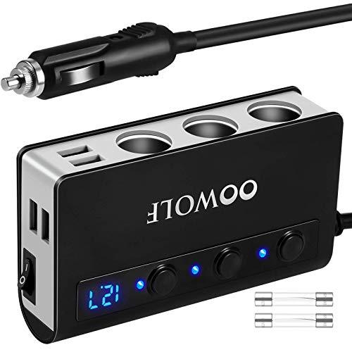 OOWOLF QC 3.0 Zigarettenanzünder USB, 180W 12V/24V Zigarettenanzünder Verteiler USB, 3 DC Steckdose Splitter 4 USB Anschlüsse kfz ladegerät für GPS, iPhone XR XS MAX, Dash Cam, SatNavi