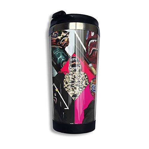 B-A-P-E Kaffeetasse mit Klappdeckel Regenbogen Edelstahl Becher Tasse Wasserflasche lustige Tasse für Männer Frauen Freunde