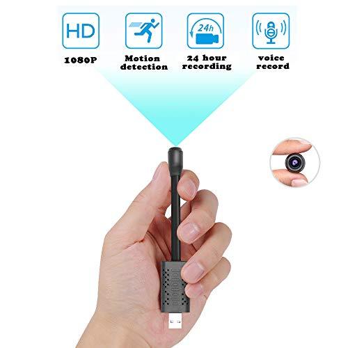 Mini-USB-Spionagekamera, versteckt, ZTour HD 1080P, kleinste tragbare Überwachungskamera, kleine Nanny Cam mit Bewegungserkennung, Loop Video Kompaktkamera für Zuhause, Geschäft etc.