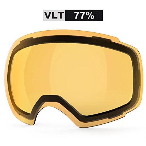 ZIONOR Lagopus X4 Ski Snowboard Snow Goggles Replacement Lenses (VLT 77% Clear Orange Lens)