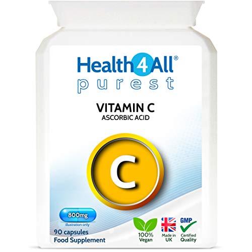 Purest Vitamin C 800mg 90 Capsules (V) as Ascorbic Acid - no additives, Vegan. Made by Health4All