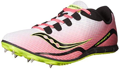 Saucony Women's Vendetta Spike Shoe, White/Pink, 10 M US