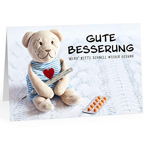 Große Grußkarte XXL (A4) Gute Besserung/Teddy-Bär, niedlich für Kinder/mit Umschlag/Edle Design Klappkarte/Krank/Gesundheit/im Krankenhaus/Extra Groß/Edle Maxi Genesungskarte