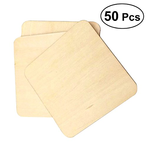 VORCOOL Holzscheiben Baumscheiben Naturholzscheiben 50 Stücke 5x5 cm Quadrat Holz für Basteln Bemalen DIY Handwerk Untersetzer