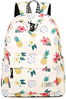 ZPFHB New Fashion School Bag Polyester Waterproof Backpacks for Comfortable Girls withBeigePineapple Print