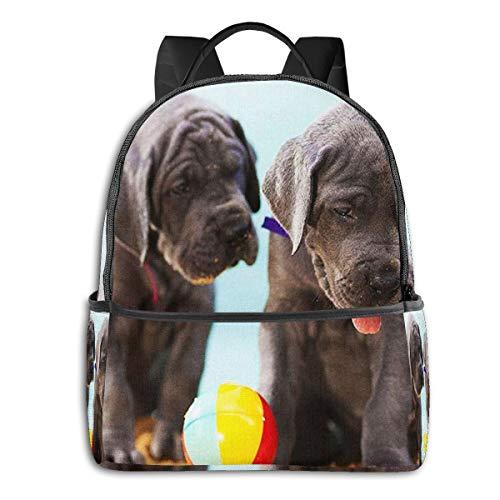 SGSKJ Mochila Tipo Casual Mochila Escolares Mochilas Escolar Estilo Impermeable para Viaje De Ordenador Portátil para Hombre Mujer Cachorros de Gran danés