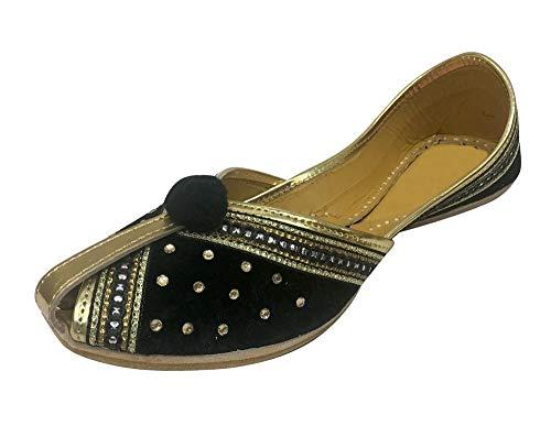 Step n Style Women Velvet & Leather Khussa Shoes Punjabi Jutti Indian Traditional Mojari Black