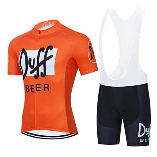PGONE Maillot Ciclismo De Verano para Hombre Orange Duff Beer Manga Corta,...