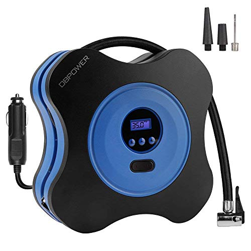 DBPOWER 12V DC Tire Inflator, Digital Air Compressor Pump with Digital Gauge, 3 High-air Flow Nozzles & Adaptors for Cars, Bicycles and Basketballs