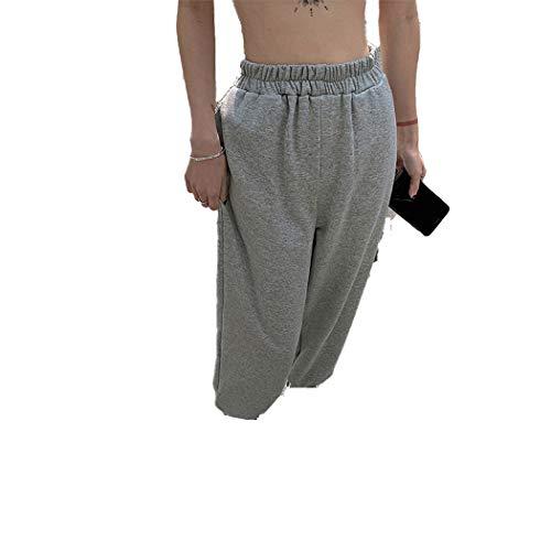 Pantalones de chándal Grises Pantalones de chándal de Pierna Ancha Pantalones de harén de Mujer Ropa de Calle de Cintura Alta Pantalones de chándal Casuales Coreanos Gray S