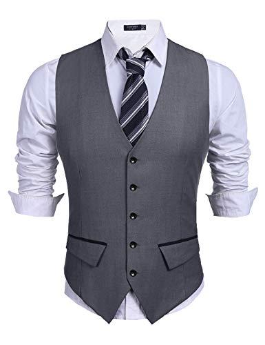 COOFANDY Men's Business Suit Vest,Slim Fit Skinny Wedding Waistcoat (XX-Large, Dark Gray