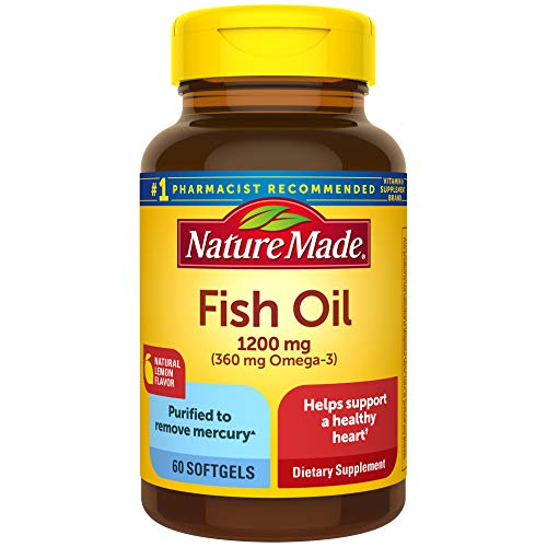 Nature Made Fish Oil 1200mg, 60 Softgels, Fish Oil Omega 3 Supplement For Heart Health, with Natural Lemon Flavor Kansas