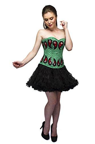 Cors para fiesta de Halloween con lentejuelas rojas, color verde