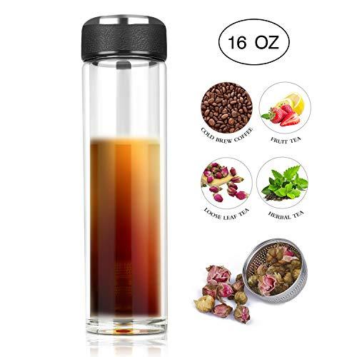 Tea Infuser Bottle - Magnetic Tea Tumbler with Infuser - Leakproof Double Wall Glass Travel Tea Bottle for Loose Leaf Tea/Iced Drinks/Fruit Water - Gift for Men/Women/Mom/Dad