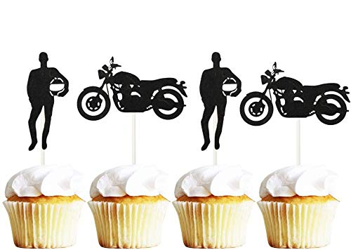 Sunsor 24Pcs Motorcycle Locomotive Racer Cupcake Toppers Cake Picks Decoration for Baby Shower Birthday Party Favors