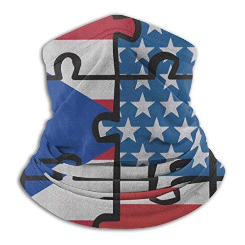 NA Puerto Rico USA Vlag Puzzel Dames Gezicht Masker Hals Warmer Hals Gaiter Voor Vissen