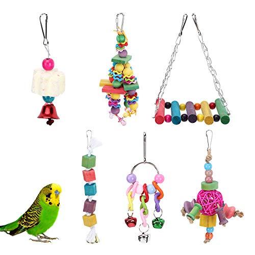 Nichhany 6 Piezas pájaro Loros Juguete Colgante Columpio Sepaktakraw Campana Colgante de Madera morder Juguete para Masticar Jaula para Mascotas Accesorio