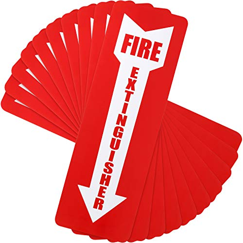 20 Pieces Fire Extinguisher Sign Stickers Safety Arrow Vinyl Laminated Self-Adhesive Durable Decal Label Weatherproof and UV Protected, 4 x 12 Inches