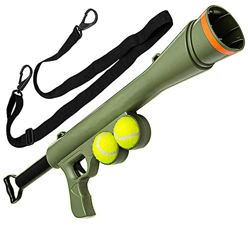 Goofy Tails Bazooka Ball Launcher Gun with 2 Pcs Tennis Ball & Strap for Dogs