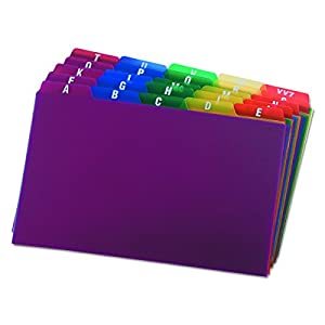 "Oxford Poly Index Card Guides, Alphabetical, A-Z, Assorted Colors, 5"" x 8"" Size, 25 Guides per Set (73155)"
