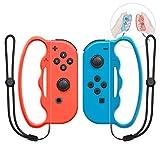 MENEEA Poignée de Boxe pour Nintendo Switch Joy-Con Fitness Boxing Game, 2 pièces Fitness Boxing Fermoir Accessories Assit Tool Poignée avec dragonne pour Adultes et Enfants (Rouge et Bleu)