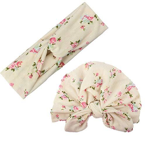 JoJody Turban Bebe Fille - Bonnet Bébé Turban + Bandeau Maman Mother Baby Set-Mode Bohême Fleur imprimée Élastique Accessoires pour Cheveux (Beige)