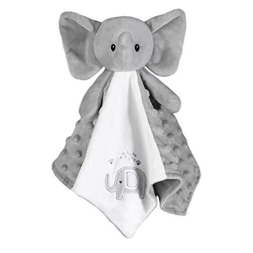 BORITAR Elephant Baby Security Blanket for Newborn Soft Minky Plush Fabric with Lovely Elephant, Stuffed Plush Cuddle Newborn Blankie 14 Inch