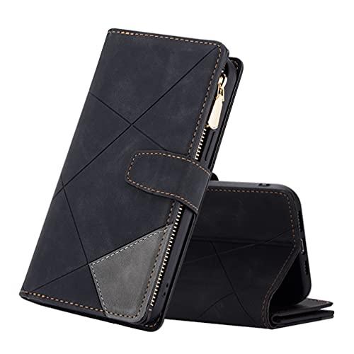 BRAND SET Funda Magnetica para Samsung Galaxy S7 Edge con Zipper Wallet Antigolpes Funda Protector [Ranura para Tarjeta] [Función de Soporte] Carcasa para Samsung Galaxy S7 Edge Libro-Negro Gris