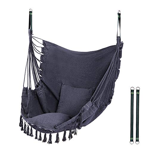 RedSwing Hanging Hammock Chair, Hanging Rope Swing with 2 Cushions and Hardware Kits, Quality Cotton Weave for Superior Comfort and Durability, Max Load 330Lbs