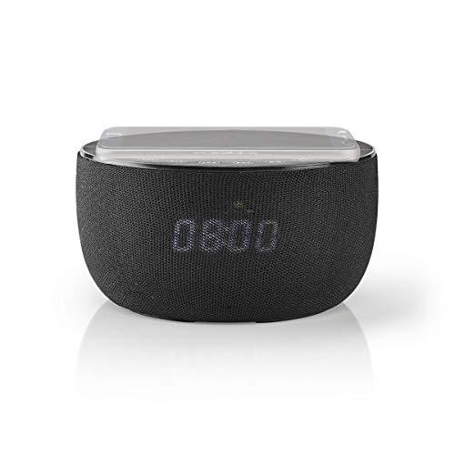 Nedis - Bluetooth® Speaker met Draadloos Laden - 30 W - Tot 6 uur afspeeltijd - Ingebouwde 2000 mAh batterij - Ingebouwde microfoon - Wekkerradio - Zwart