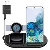 3 in 1 Wireless Charging Station Docking, Wireless Charger Stand Compatible with i Phone 12 Pro Max 11 X XR XS, Samsung Galaxy S20+/S10 S9, Galaxy Watch 1 39.5mm 40mm 42mm Active 2 Airpods Pro (Black)