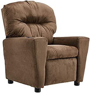 JC Home Microfiber Kids Recliner with Cup Holder, Brown
