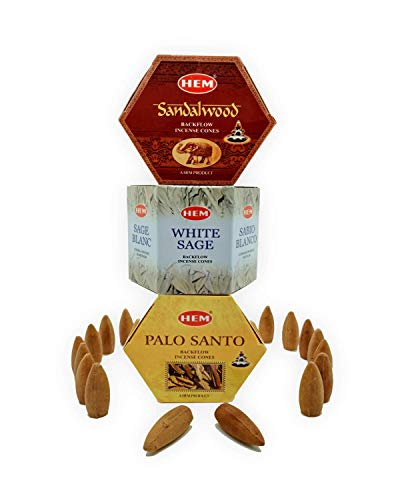 Hem Backflow Incense Cones for Waterfall (3 Types, 120 Cone Incense) - Palo Santo Cones, White Sage Incense Cones & Sandalwood Incense Cones | Strong Heavenly Scent with Thick White Incense Fountain