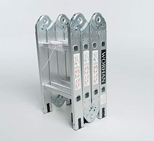 WORHAN® 2.5m Escalera Multiuso Multifuncional Plegable Tijera Aluminio con 2 Estabilizadores Nueva Generación Calidad Alta KS2.5
