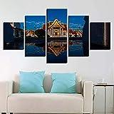 ganlanshu Pintura sin Marco 5 Budista Templo Iglesia Paisaje imágenes Pared Arte Lienzo HD Imprimir póster ZGQ4778 40x60cmx2, 40x80cmx2, 40x100cmx1