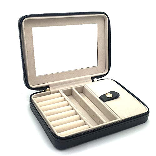 SXBB Jewelry Box Jewelry Box Jewelry Box Portable Black Pu Cortex Rectangular Douglas 17.4 * 4 * 2.4cm