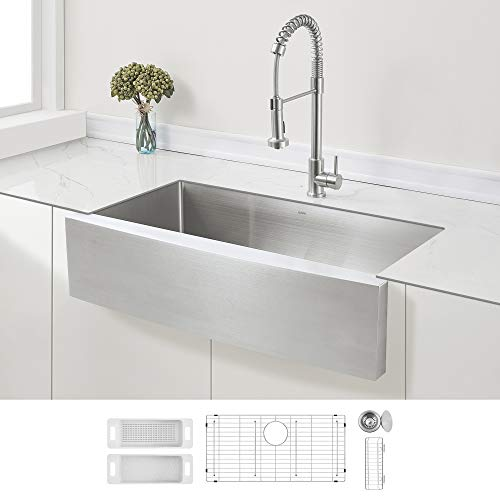 ZUHNE 36-Inch Single Bowl Farmhouse Curved Apron Front Stainless Steel Kitchen Sink 16-Gauge