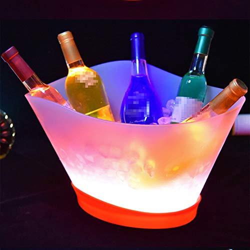 NAY Secchiello per Ghiaccio A LED,Secchio per Champagne A LED in Plastica,Portaghiaccio Luminoso Colorato A LED,per Festa Asta Casa Matrimonio