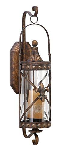 """Deco 79 Rustic Fleur-de-Lis-Designed Metal Candle Sconce, 20"""" H x 7"""" L, Textured Bronze Finish"""