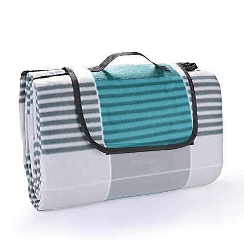 EKKONG 200 x 200 cm Picknickdecke XXL Stranddecke aus Fleece Wasserdicht groß Faltbar Leicht mit Tragegriff Matte Decke für Camping Picknick Reise (Blue&Grey)