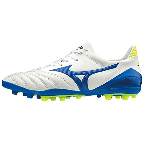 Mizuno Morelia Neo KL II AG, Bota de fútbol, White-Wave Cup Blue-Safety Yellow, Talla 12 US (46 EU)