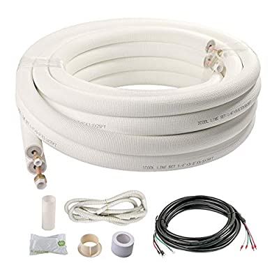"ICOOL Copper Pipes for Mini Split Air Conditioner 25 Ft. 1/4"" & 3/8"" OD Insulated Coil Line Set HVAC with Fittings White"