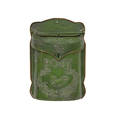 Creative Co-Op Green Tin Post Box